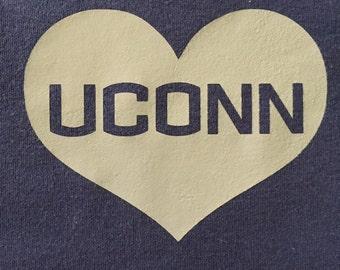 79462bcca5b UConn Huskies Heart DIY Iron On Decal - Glitter or Flat Vinyl - HTV