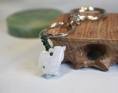 Jade Rooster Key Chain, Key Ring, Key Holder, Pale White Jade, Birthday Gift, Birth Animals, Gift For Him, Gift For Dad