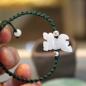 Friendship Bracelet Mothers day Gift Jade Circle Donut Bracelet Birthday Gift Handknotted Bracelet Icy Pale White Jade
