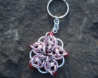 Sakura-Inspired Chainmail Flower Keychain