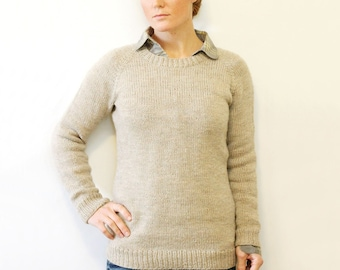 KNITTING PATTERN — Top down worsted sweater / Ladies Classic Raglan Pullover — PDF
