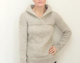 KNITTING PATTERN — Top down shawl collared chunky raglan sweater / Fireside Pullover — PDF