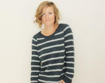 KNITTING PATTERN — knit top down striped dk sweater / Clarke Pullover — PDF