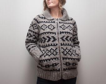KNITTING PATTERN — Top down shawl collared super bulky raglan colour-work sweater / West Coast Cardigan — PDF