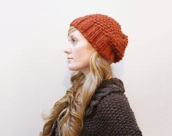 KNITTING PATTERN —  Easy fast seed stitch super bulky / Autumn hat — PDF