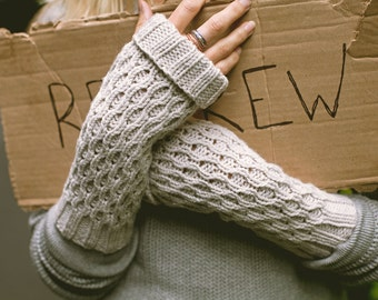KNITTING PATTERN — Fingerless mittens textured worsted weight / Spate Mitts — PDF
