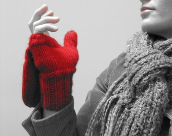 KNITTING PATTERN // Red is Best // mittens worsted pop top gloves PDF