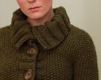 KNITTING PATTERN — Top-down seed stitch sweater / Sedum Cardigan — PDF