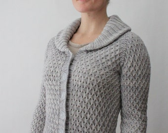 KNITTING PATTERN // Beacon Hill cardigan // top-down worsted textured sweater -- PDF