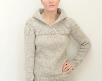 KNITTING PATTERN // Fireside Pullover // top-down shawl collared chunky sweater -- PDF