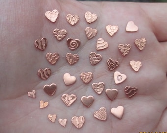 Tiny Copper Heart Discs/ one quarter inch (24 or 22 gauge)