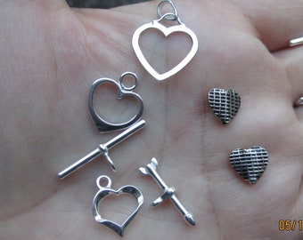 Sterling Silver Heart Clasp, Heart and Arrow Clasp, Open Heart charm, or Heart Beads