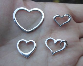 Sterling Silver Heart frames or Floating Hearts - You choose which one