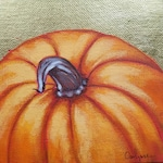 Pumpkin and Gold - Pumpkin Painting - Fall Decorating - Holiday Accents