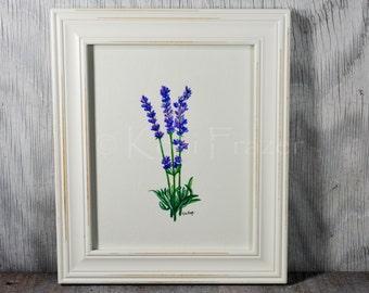 Lavender watercolor painting, wall decor, original painting