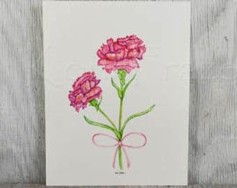1st wedding anniversary flower, carnations, original watercolor painting, anniversary flower, anniversary gift