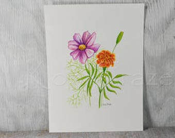 Cosmos and marigold, October birthday flower, original watercolor painting, birth month flower, October birthday gift