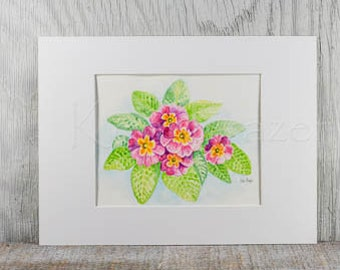 Original watercolor painting, Pink primroses, fine art spring flowers, with white mat