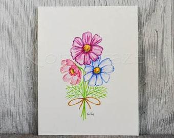 2nd wedding anniversary flower, cosmos, original watercolor painting, anniversary flower, anniversary gift