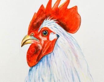 Chicken original watercolor painting, white chicken, kitchen art