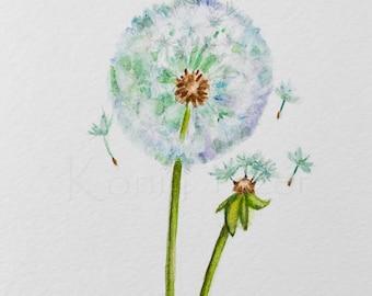 Dandelion watercolor painting / Original watercolor / flower painting 5 x 7