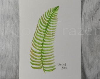 Fern watercolor painting, fern art, sword fern original watercolor painting, 9x12