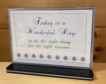 Today is a Wonderful Day Christian Plaque, Desk Sign, Inspirational Words, KJV Scripture, Motivational