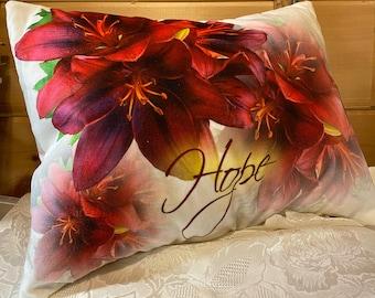 """Christian HOPE PILLOW artist original design fabric, Asiatic Lilies 17"""" wide x 12-1/2"""" Velvet, stuffed decorative pillow, Free Shipping"""