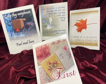 Individual Christian Encouragement Note Cards, choose Christian Greeting Cards from Set #1, envelope, KJV Scripture, God Really Loves You