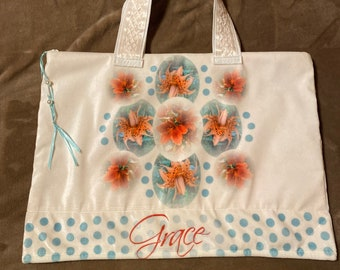 God's Grace BIBLE STUDY book bag, garden lilies, Christian Bible bag, tote bag, Velvet, FREE Sachet