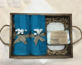 Great gift! SPRING SHOWERS gift set in barnwood style tray, Forever Spring Hyacinth soap hand made in small batches, nice lather!