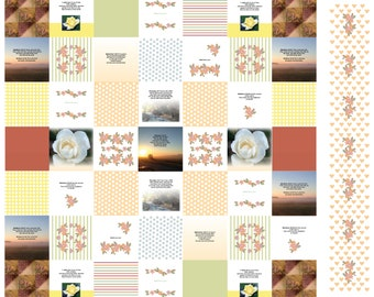 """Christian Neighbors Quilt Fabric 42"""" wide by 36"""" - one yard - Christian Scripture - make a pillow or sachets or quilt or wall hangings"""