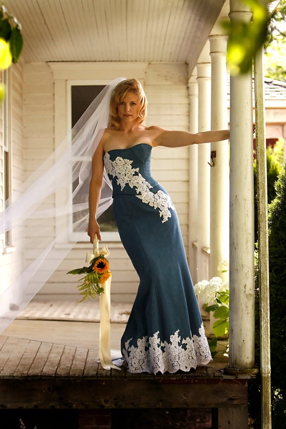 Denim And Lace Wedding Dress | Denim And Lace Rustic Country Wedding Dress Sample Sale Size 6 Etsy