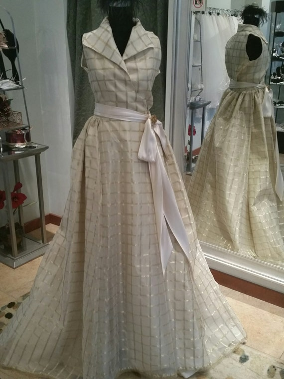Image result for organza gold plaids gown
