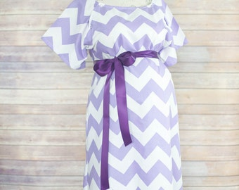 246d31ed207 Lavender Chevron Maternity Hospital Delivery Gown -Super Soft -Perfect  Snaps for Breastfeeding