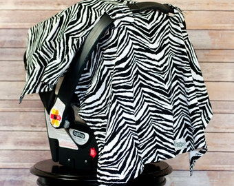 Car Seat Sun Shade in Zebra - Shield your baby from the sun, germs and the elements with a darling car seat canopy