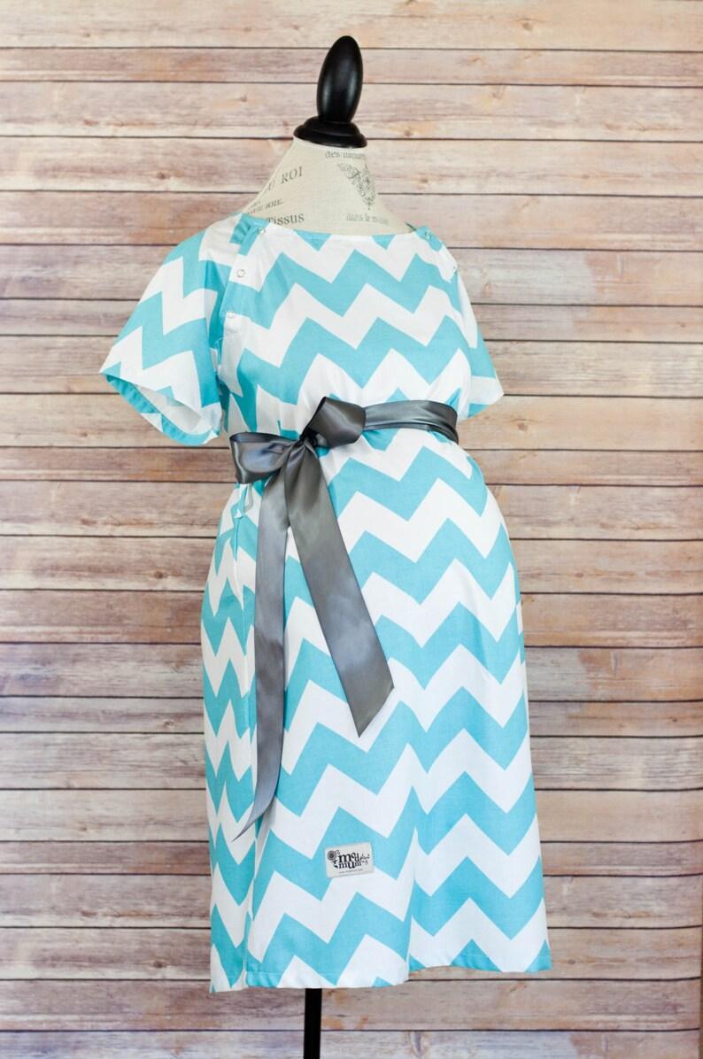 545abdced9d Aqua Chevron Maternity Hospital Delivery Gown Super Soft