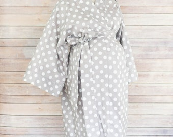 Gray Polka Dot Maternity Kimono Labor and Delivery Robe - Add a Delivery Gown for a Perfect Set- Perfect for Skin to Skin Breastfeeding