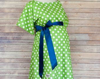 Size S - Green Polka Dot Gown with Green Chevron Trimmed White Fleece Robe Set - Super Soft Microfleece