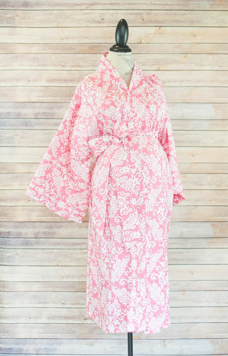 a127edbb86523 Maternity Kimono Style Robe Pink Damask Birthing Robe that | Etsy