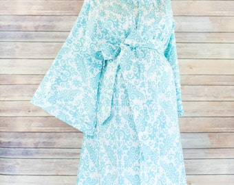Aqua Damask Maternity Kimono Labor Delivery Robe - option to add a matching Gown - Perfect for Skin to Skin Breastfeeding