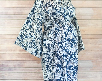 Navy Damask Maternity Kimono Labor and Delivery Robe - Add a Delivery Gown for a Perfect Set- Perfect for Skin to Skin Breastfeeding