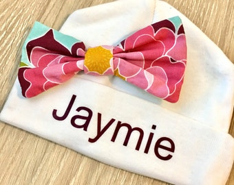 Infant Hat with Name and Bow