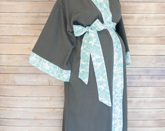 Aqua Damask Maternity Gown and Kimono Robe Set - Super Soft Gray Microfleece