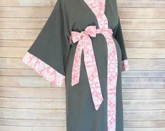 Pink Damask Maternity Kimono Robe - Super Soft Gray Microfleece - Add a Labor and Delivery Gown to Match