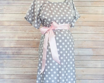 Gray Polka Dot Maternity Lanor and Delivery Hospital Gown- Super Soft -Perfect Snaps for Breastfeeding, Skin to Skin, and Epidural