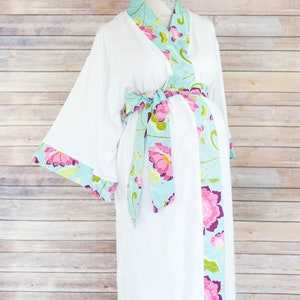 Navy Chevron Maternity Kimono Robe Super Soft Microfleece Add a Labor and Delivery Gown to Match