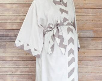 Gray Chevron Maternity Kimono Robe - Super Soft Microfleece - Add a Labor and Delivery Gown to Match