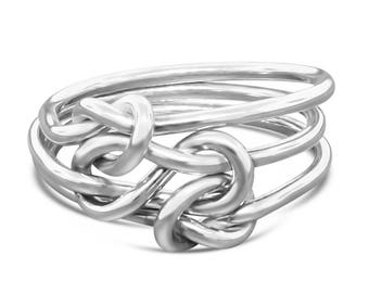 Sterling Silver Mother Daughter Ring - Knot Ring Stacking Ring - Promise Ring for Her - Celtic Knot Ring - Bohemian Ring Gift for Her