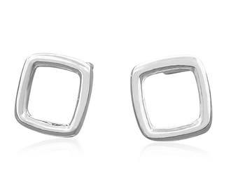 Sterling Silver Square Earrings  - Tiny Stud Earrings - Silver Stud Earrings - Gift for Her - Everyday Earrings - Minimal Earrings